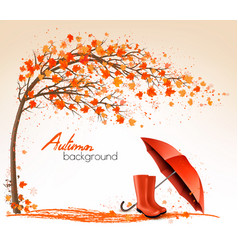 autumn banners with trees and umbrella and rain vector image