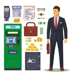 bank icons banker and atm dollar banknotes vector image