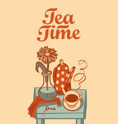 Banner on tea theme with inscription tea time vector