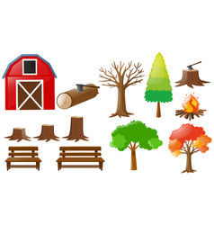 barn and nature elements vector image