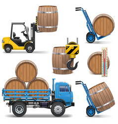 Barrels Shipping Icons vector image