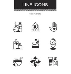 beauty spa - set of line design style icons vector image