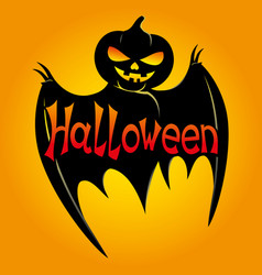 Black bat with pumpkin head vector