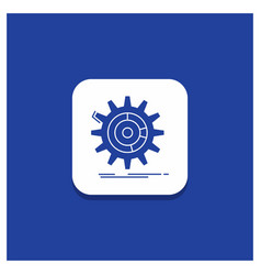 blue round button for setting data management vector image