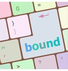 Bound button on computer pc keyboard key vector