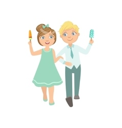 Boy Ad Girl On A Date Eating Ice-Cream vector