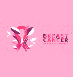 Breast cancer month banner tropical leaf ribbon vector
