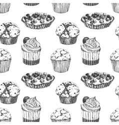 Cakes hand drawn pattern vector