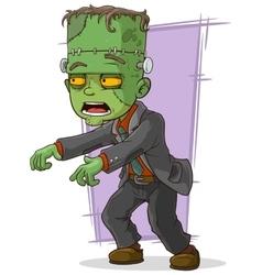Cartoon green zombie monster in suit vector image