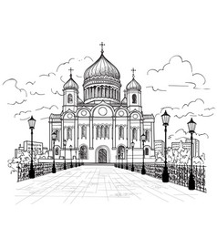 Cathedral of christ the saviour in moscow russia vector