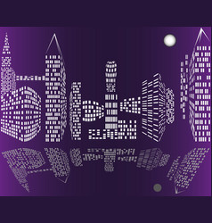 city night skyline intelligent buildings vector image
