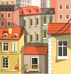 cityscape closeup old town houses in european vector image