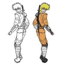 color ninja vector image