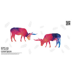 Colorful texas longhorn and tropical leaf pattern vector