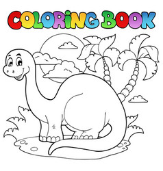 Coloring book dinosaur scene 1 vector