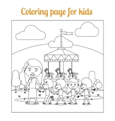 Coloring page for kids amusement park vector image