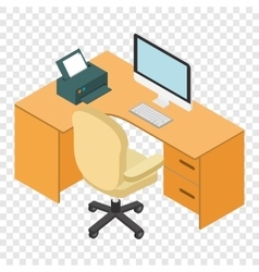 Computer desk workplace isometric 3d vector