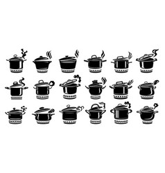 cooking saucepan steam icon set simple style vector image