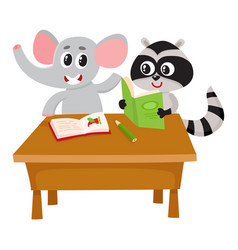 cute elephant and raccoon student characters vector image