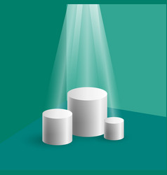Cylindrical podium in green corner vector