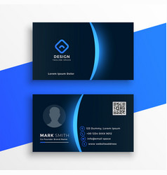 dark business card template with blue light effect vector image