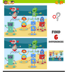 Differences game with fantasy robots characters vector