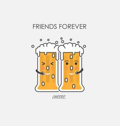 drunk beer glasses characterfriends forever vector image