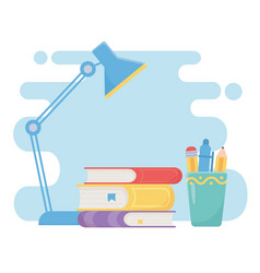 Education online stack books desk lamp and vector
