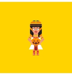 Egyptian queen with a pumpkin character for vector