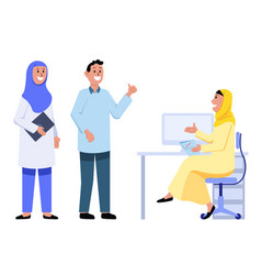 explained issues girl muslim office employee vector image