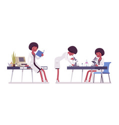 Female black scientist working vector