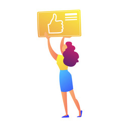 female social media manager holding thumb up icon vector image