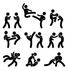 Fight fighter muay thai boxing karate taekwondo vector