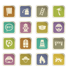 Fire brigade icons set vector