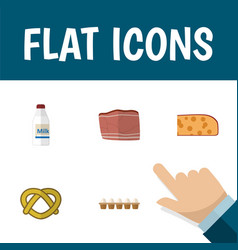 flat icon eating set of cookie eggshell box vector image