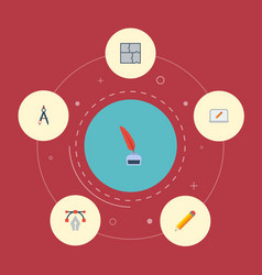 Flat icons writing screen compass and other vector