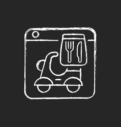 food delivery service chalk white icon on dark vector image