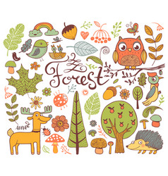 forest design elements in doodle style vector image