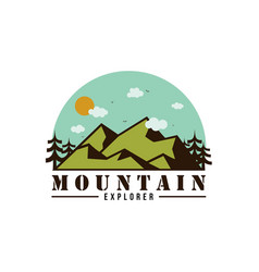 forest mountain adventure explore logo vector image