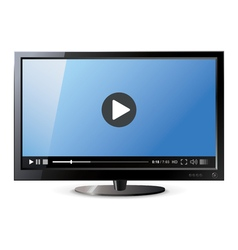 Frontal view widescreen lcd monitor video vector