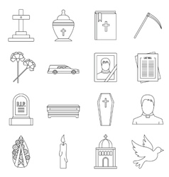 Funeral icons set outline style vector