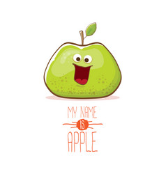 Funny cartoon cute green apple character vector