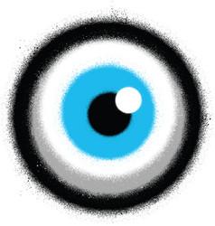 Graffiti staring eyeball sprayed in color vector