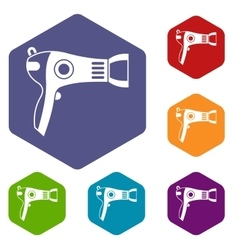 Hairdryer icons set vector image