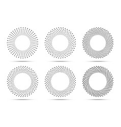 halftone circle dotted frames set dots logo vector image
