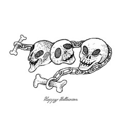 Hand drawn of skull and chains for halloween celeb vector