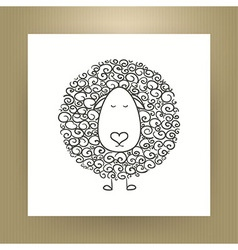 Hand Drawn Outline Sheep Isolated over White Paper vector image