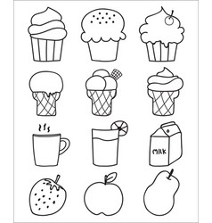 hand drawn sweets and dessert set ice cream vector image