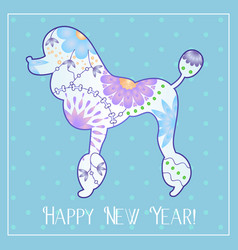 Happy new year with poodle gradient vector