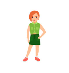 happy redhead girl in green suit vector image